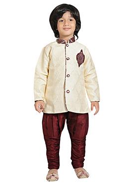 Cream N Maroon Breeches Style Sherwani