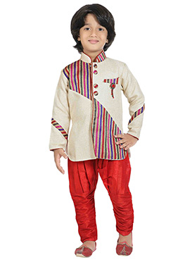 Cream N Multicolored Jute Kids Sherwani