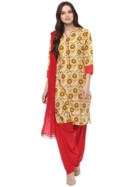 Cream N Mustard Blended Cotton Salwar Suit