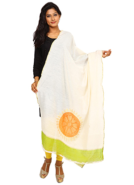 Cream N Neon Green Benarasi Cotton Dupatta