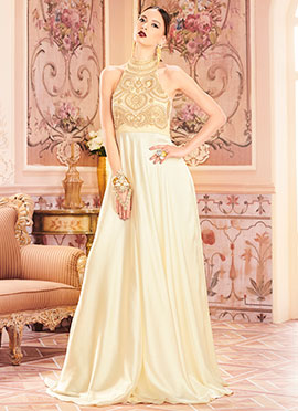 Cream N Off White Anarkali Gown