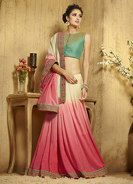 Cream N Ombre Pink Viscose Border Saree