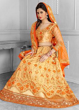 Cream N Orange A Line Lehenga Choli