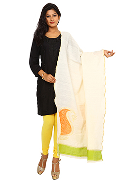 Cream N Orange Art Benarasi Silk Dupatta