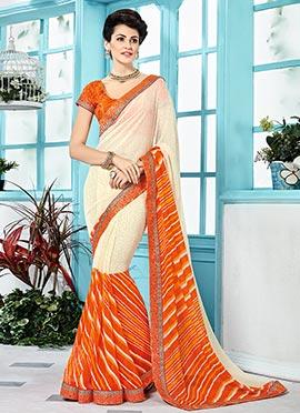 Cream N Orange Bandhini N Leheriya Pattern Saree