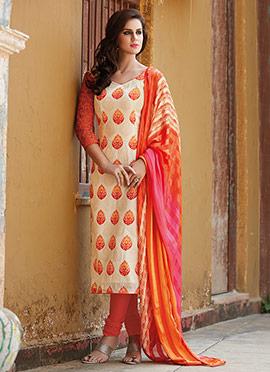 Cream N Orange Churidar Suit