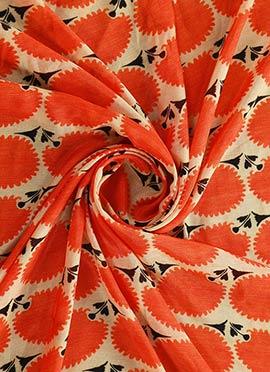 Cream N Orange Digital Printed Modal Silk Fabric