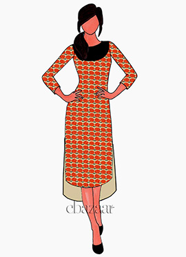 Cream N Orange Digital Printed Modal Silk High N Low Kurti