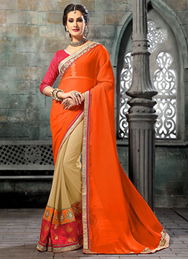 Cream N Orange Half N Half Saree