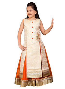 Cream N Orange Kids Long Choli A Line Lehenga