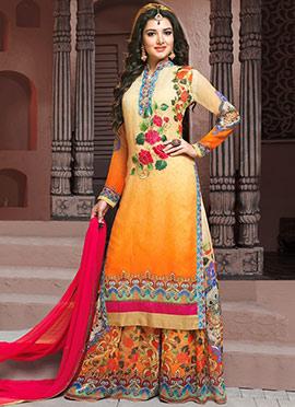 Cream N Orange Ombre Georgette Palazzo Suit