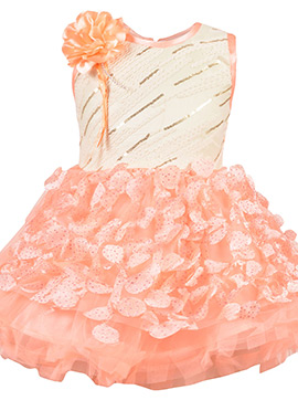 Cream N Peach Net Kids Dress