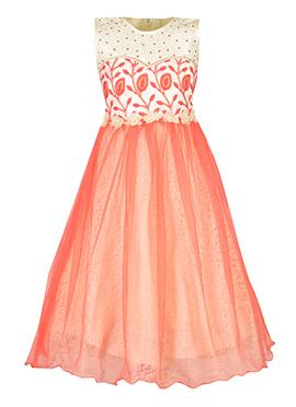 Cream N Peach Net Kids Gown