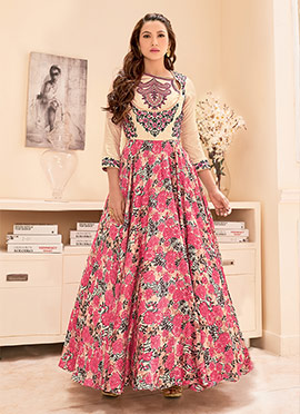 Cream N Pink Ankle Length Anarkali Suit