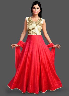 Cream N Pink Art Silk Anarkali Suit