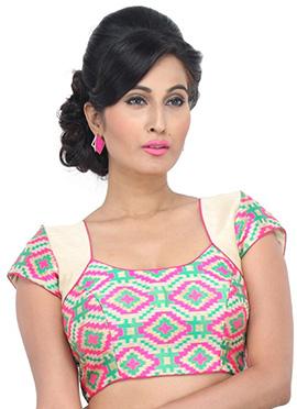 Cream N Pink Art Silk Blouse