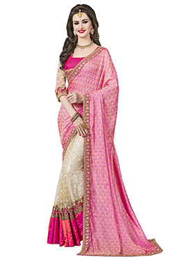 Cream N Pink Art Silk Half N Half Saree