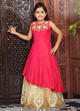 Cream N Pink Art Silk Kids Gown