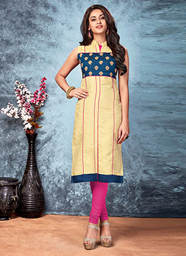 Cream N Pink Art Silk Kurti