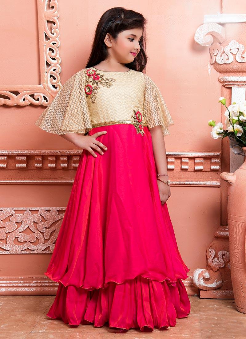 Buy Cream N Pink Art Silk Net Kids Gown, Sequins , Patch Work ...