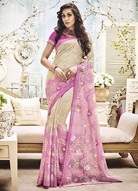 Cream N Pink Art Silk Printed Saree