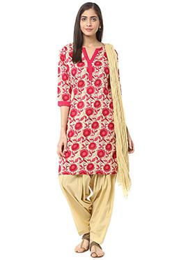 Cream N Pink Blended Cotton Salwar Suit