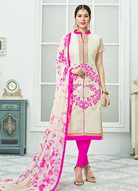 Cream N Pink Chanderi Cotton Churidar Suit