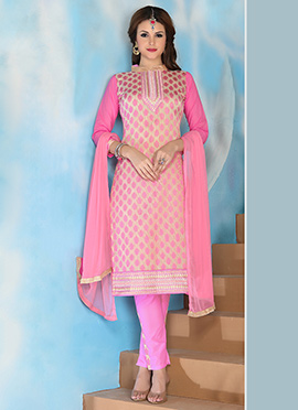 Cream N Pink Cotton Churidar Suit