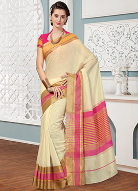 Cream N Pink Cotton Saree