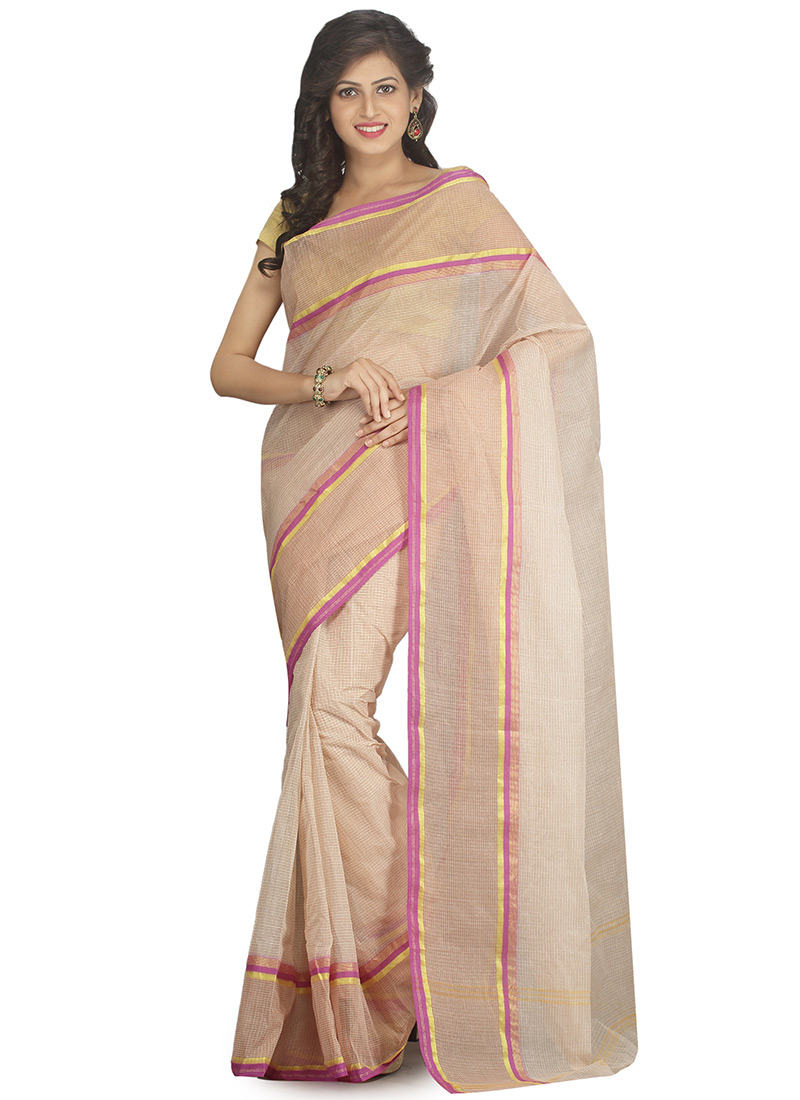 3a3cd29866 Buy Cream N Pink Cotton Tant Saree, Handloom , Bengal Handloom ...