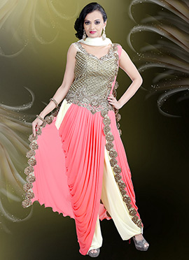 Cream N Pink Draped Indowestern Set