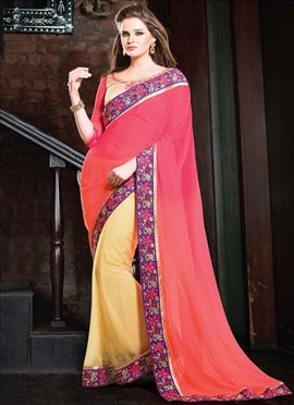Cream N Pink Half N Half Saree