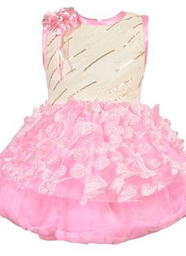 Cream N Pink Net Kids Dress