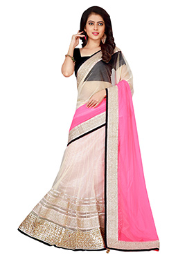 Cream N Pink Net Lehenga Saree