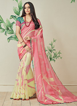 Cream N Pink Printed Half N Half Saree