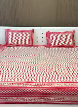 Cream N Pink Pure Cotton Bed Sheet