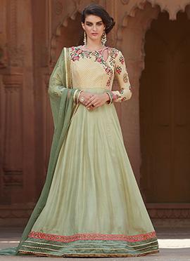 Cream N Pista Green Anarkali Suit