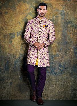 Cream N Purple Achkan Sherwani