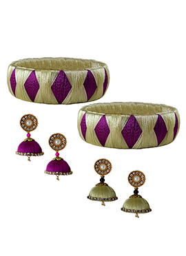 Cream N Purple Bangles Combo