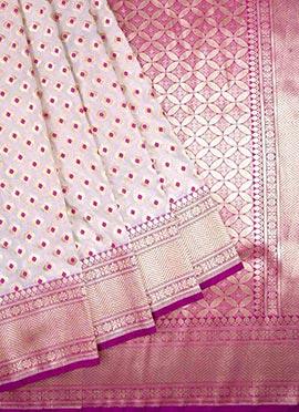 Cream N Purple Benarasi Pure Silk Saree