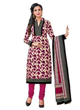 Cream N Purple Cotton Churidar Suit