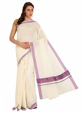 Cream N Purple Cotton Kasavu Saree