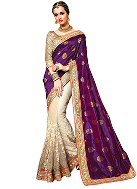 Cream N Purple Half N Half Saree