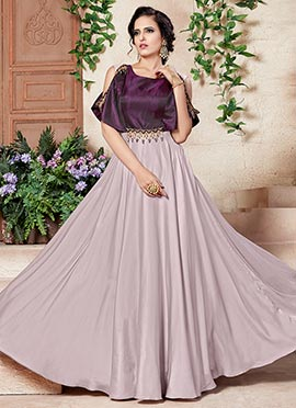 Cream N Purple Satin Silk Taffeta Anarkali Gown