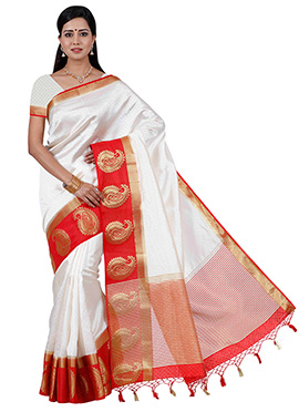 Cream N Red Art Raw Silk Saree