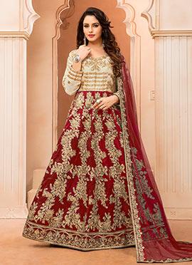 Cream N Red Art silk Anarkali Suit