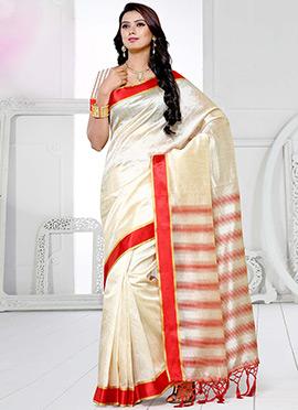 Cream N Red Art Silk Saree