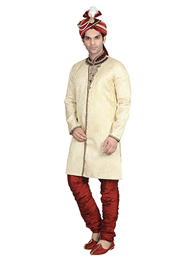 Cream N Red Breeches Style Sherwani