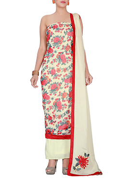 Cream N Red Chiffon Brasso Dress Material