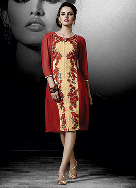 Cream N Red Embroidered Tunics
